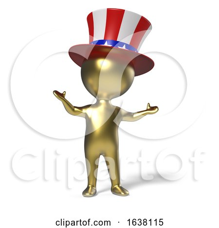3d Little Gold Man with Uncle Sam Stars and Stripes Top Hat, On a White Background by Steve Young
