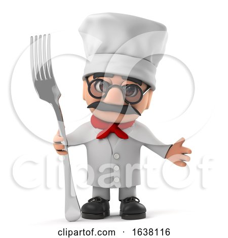 3d Funny Cartoon Old Italian Chef Character Holding a Fork Utensil, On a White Background by Steve Young