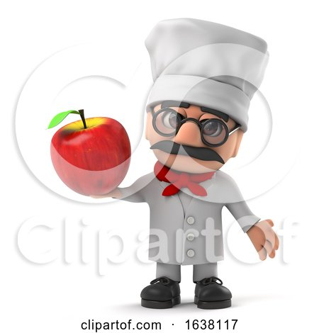 3d Cartoon Italian Pizza Chef Character Holding a Red Apple, On a White Background by Steve Young