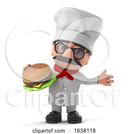 3d Funny Cartoon Italian Pizza Chef Character Eats a Beef Burger, On a White Background by Steve Young