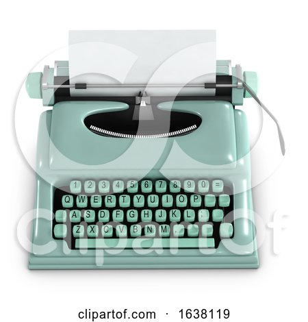 3d Green Retro Typewriter, On a White Background Posters, Art Prints