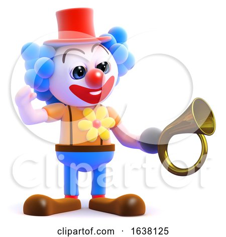 3d Clown Honks His Horn, On a White Background by Steve Young