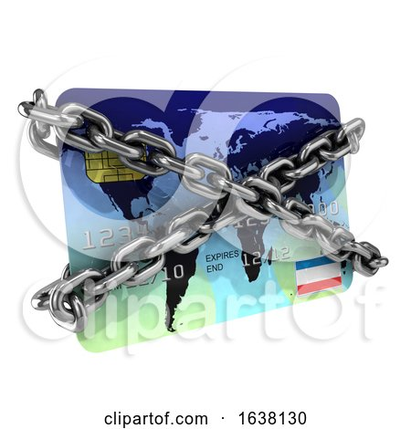 3d Chained Debit Card, On a White Background by Steve Young
