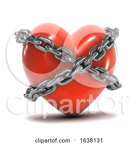 3d Chained Heart, On a White Background by Steve Young