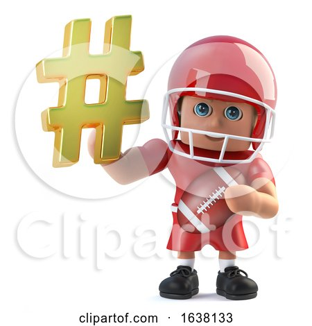 3d Funny Cartoon American Football Player Holding a Hash Tag Symbol, On a White Background by Steve Young