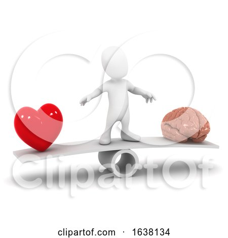 3d Heart and Mind Decision, On a White Background by Steve Young