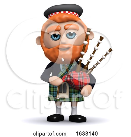 3d Scotsman Plays Bagpipes, On a White Background by Steve Young