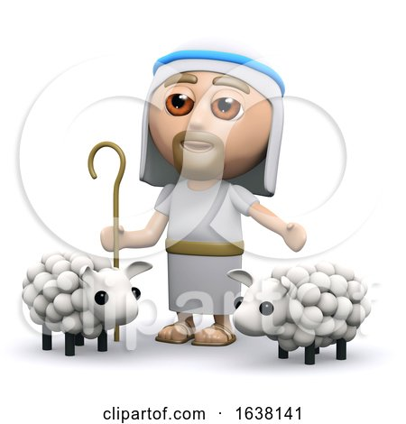 3d Jesus the Shepherd, On a White Background by Steve Young