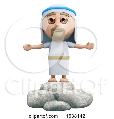 3d Jesus Preaches, On a White Background by Steve Young