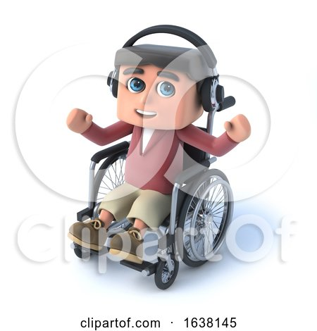 3d Boy in Wheelchaird Listens on His Headphones, On a White Background by Steve Young