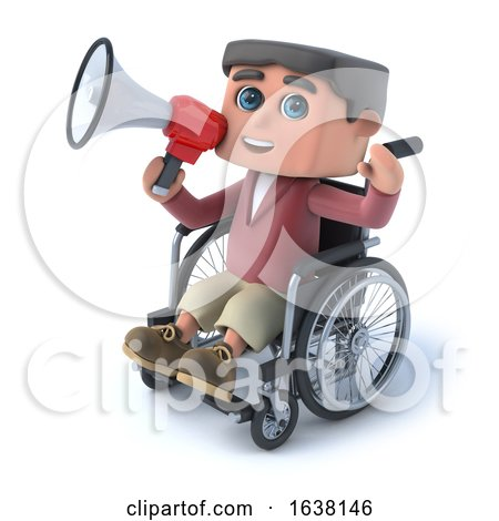 3d Boy in Wheelchair Speaking Through Megaphone, On a White Background by Steve Young