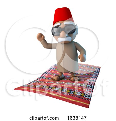 3d Moroccan on Flying Carpet, On a White Background by Steve Young