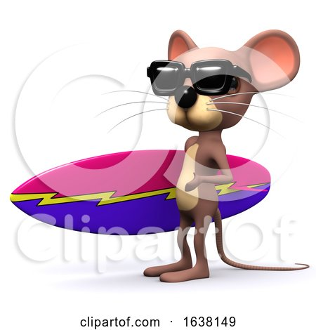 3d Mouse Surfer, On a White Background by Steve Young