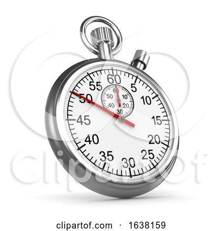 3d Silver Stopwatch, On a White Background by Steve Young