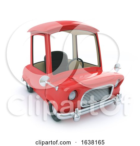 Funny Cartoon 3d Car in Red, On a White Background by Steve Young