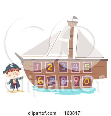 Kid Boy Hook Pirate Ship Numbers Illustration by BNP Design Studio