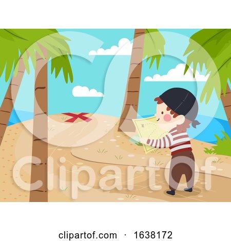 Kid Boy Pirate Find Spot Treasure Map Illustration by BNP Design Studio