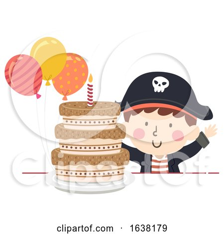 Kid Boy Pirate Party Cake Balloons Illustration by BNP Design Studio