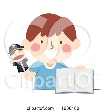 Kid Boy Pirate Puppet Open Story Book Illustration by BNP Design Studio