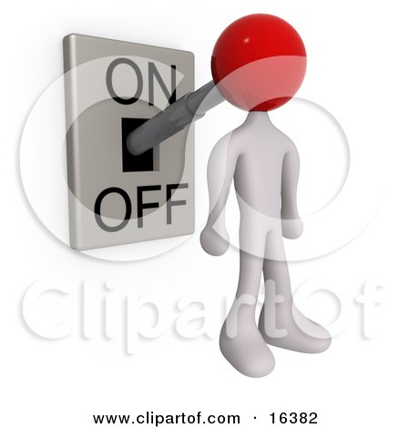 White Person With A Red Head Attached To An On/off Switch Lever, Set To On  Posters, Art Prints