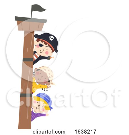 Kids Pirates Border Ship Mast Wave Illustration by BNP Design Studio