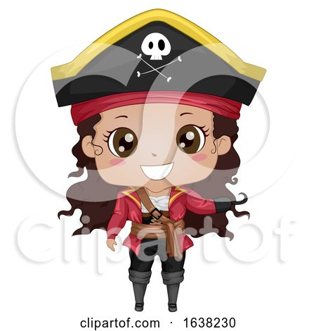 Kid Girl African American Pirate Illustration by BNP Design Studio