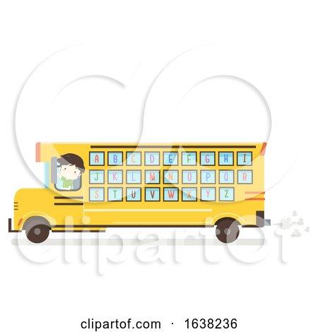 Kid Boy School Bus Alphabet Illustration by BNP Design Studio