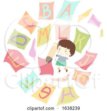 Kid Boy Pencil Flying Papers Alphabet Illustration by BNP Design Studio
