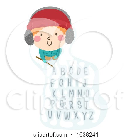 Kid Boy Write Snow Stick Alphabet Illustration by BNP Design Studio