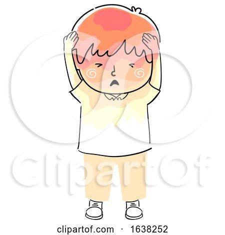 Kid Boy Doodle Headache Pressure Illustration by BNP Design Studio