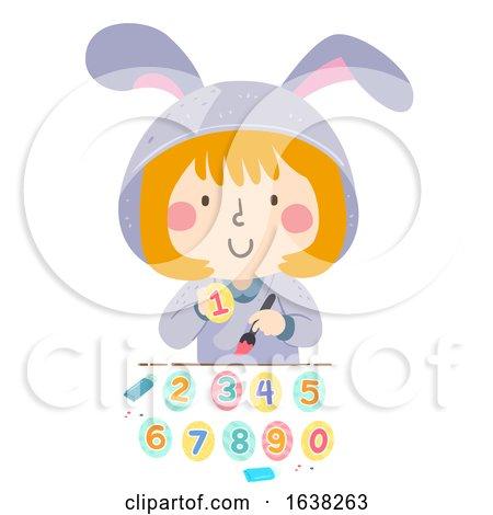 Kid Girl Paint Numbers Easter Eggs Illustration by BNP Design Studio