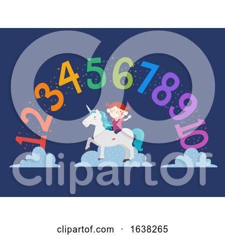 Kid Girl Unicorn Rainbow Numbers Illustration by BNP Design Studio