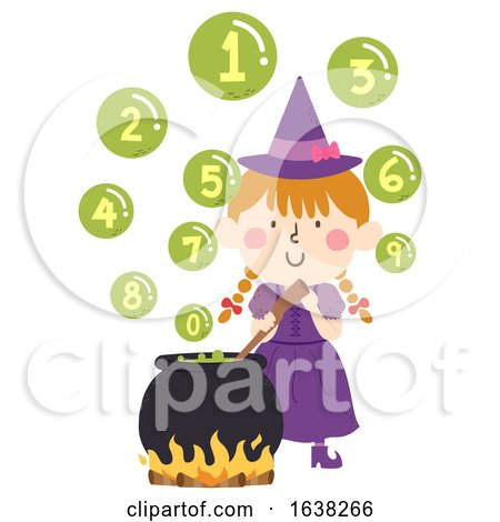 Kid Girl Witch Cook Bubbles Numbers Illustration by BNP Design Studio
