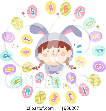 Kid Girl Easter Egg Paint Alphabet Illustration by BNP Design Studio