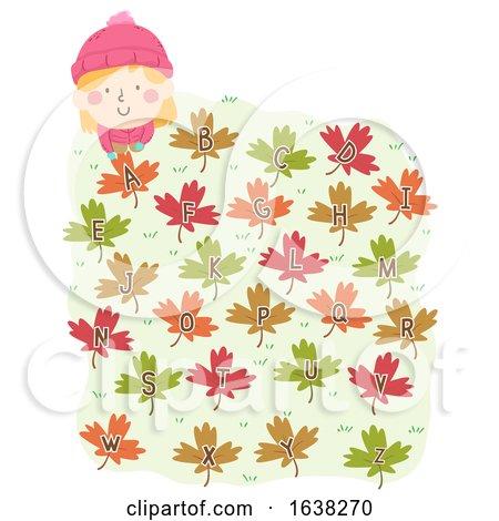 Kid Girl Autumn Leaves Alphabet Illustration by BNP Design Studio