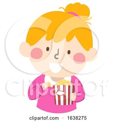 Kid Girl Eat Pop Corn Illustration by BNP Design Studio