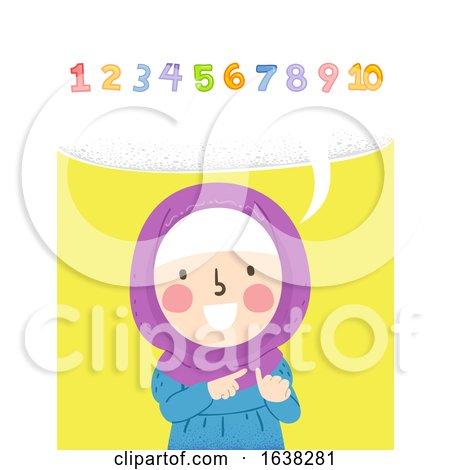 Kid Girl Muslim Count Numbers Aloud Illustration by BNP Design Studio