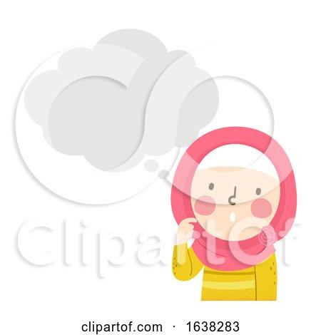 Kid Girl Muslim Thinking Bubble Illustration by BNP Design Studio