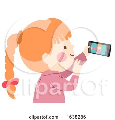Kid Girl Take Picture Mobile Phone Illustration by BNP Design Studio