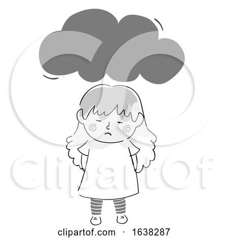 Kid Girl Doodle Dark Cloud Illustration by BNP Design Studio