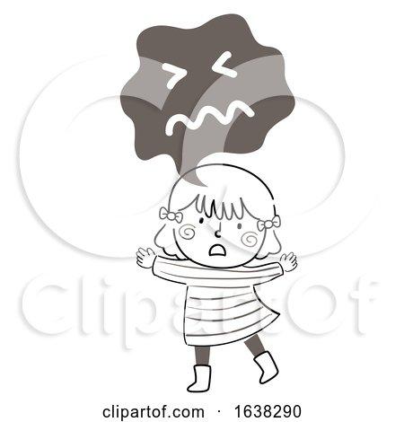 Kid Girl Doodle Fear Express Illustration by BNP Design Studio