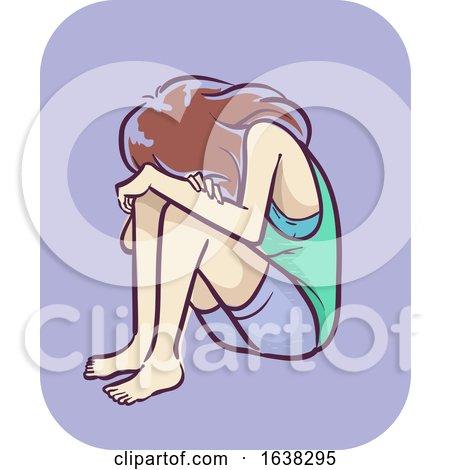 Girl Symptom Depressed Sitting down Illustration by BNP Design Studio