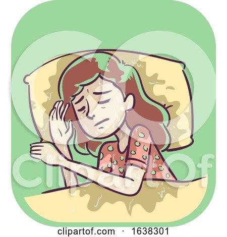 Girl Symptom Soaking Night Sweats Illustration by BNP Design Studio