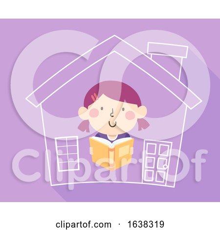 Kid Girl Read Book Home School Illustration by BNP Design Studio