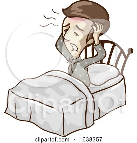 Man Low Blood Wake up Headache Illustration by BNP Design Studio