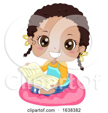 Kid Girl African Read Book Cushion Illustration by BNP Design Studio