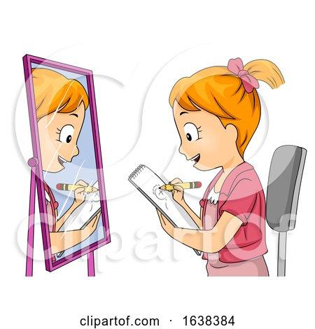 Kid Girl Draw Self Illustration by BNP Design Studio
