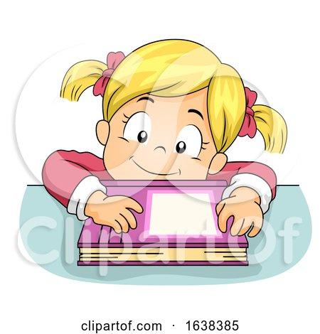 Kid Girl Lean Table Book Illustration by BNP Design Studio