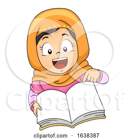 Kid Girl Muslim Classroom Language Open Book by BNP Design Studio