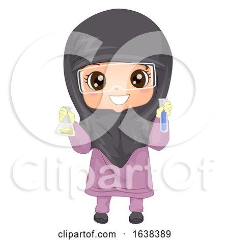 Kid Girl Muslim Holds Flask Test Tube Illustration by BNP Design Studio